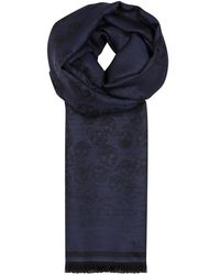 Alexander McQueen - Navy Skull-jacquard Wool-blend Scarf - Lyst