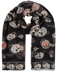 Alexander McQueen - Black Insect-print Silk Chiffon Scarf - Lyst