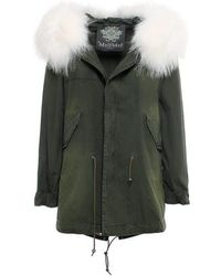 67650a246e64 Mr   Mrs Italy - Saline London Green Parka Midi Canvas Raccoon Fur - Lyst