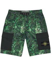 Stone Island - Alligator-print Coated Shell Shorts - Lyst
