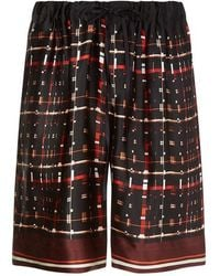 Meng - Squares And Lines Silk Shorts - Lyst