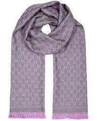 Gucci - Gg Jacquard Lilac Wool Scarf - Lyst