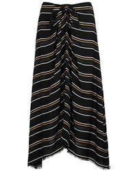 Proenza Schouler - Black Striped Midi Skirt - Lyst