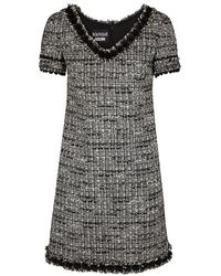 Boutique Moschino - Grey Metallic Bouclé-tweed Dress - Lyst