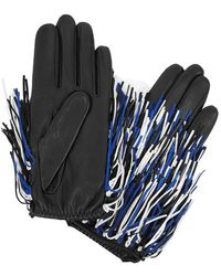 Agnelle - Fringed Leather And Suede Gloves - Lyst