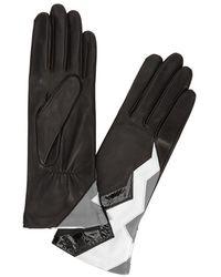 Agnelle - Black Lightning-bolt Leather Gloves - Lyst