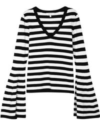 MILLY - Striped Flared-sleeve Stretch-knit Top - Lyst