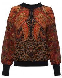 Amanda Wakeley - Printed Crepe Sweatshirt - Lyst