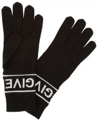 Givenchy - Black Logo Wool Gloves - Lyst