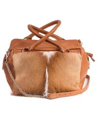 Sherene Melinda - Natural And Terracotta Box Bag With A Fan - Lyst