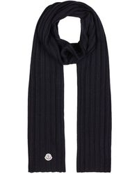 Moncler - Navy Ribbed Wool Scarf - Lyst