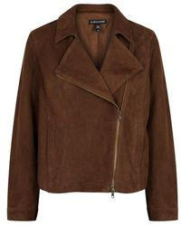 Eileen Fisher - Brown Suede Jacket - Lyst