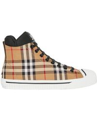 Burberry - Vintage Check And Neoprene High-top Trainers - Lyst
