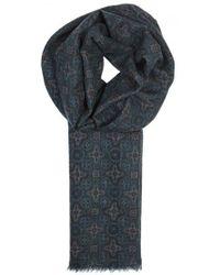 Lardini - Dark Teal Printed Wool Scarf - Lyst