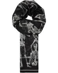 Alexander McQueen - Skeleton-print Cotton Chiffon Scarf - Lyst