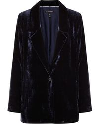 Eileen Fisher - Midnight Blue Velvet Blazer - Lyst