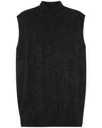 Emporio Armani - Black Stud-embellished Wool Tank - Lyst