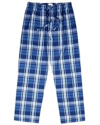 Derek Rose - Navy Checked Cotton Pyjama Trousers - Lyst