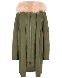 Yves Salomon - Army Green Fur-lined Cotton Parka - Lyst