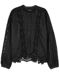 Isabel Marant - Maly Eyelet-embroidered Voile Top - Lyst