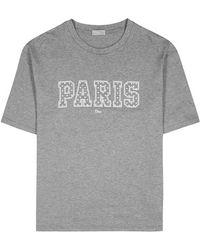 Dior Homme - Grey Logo-print Cotton T-shirt - Lyst