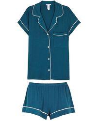 Eberjey - Gisele Teal Jersey Pyjama Set - Lyst