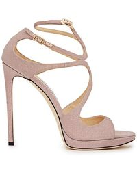 Jimmy Choo - Lance Pink Glittered Leather Sandals - Lyst