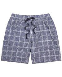 JW Anderson - Dark Blue Logo-jacquard Linen Shorts - Lyst
