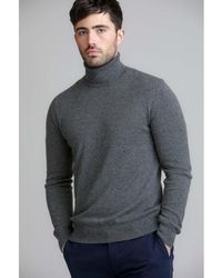 Johnstons - Granite Contemporary Classic Roll Neck Mens Cashmere Jumper - Lyst