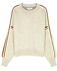 Étoile Isabel Marant - Kaori Ecru Striped Cotton-blend Sweatshirt - Lyst