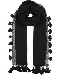 Eileen Fisher - Black Tassled Wool Blend Scarf - Lyst