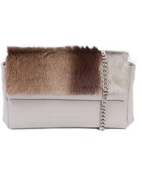 Sherene Melinda Earth Sophy Springbok Leather Clutch Bag With A Stripe - Brown