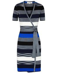 Diane von Furstenberg - Striped Ribbed-knit Wrap Dress - Lyst