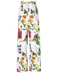 Alice + Olivia - Dustin Printed Stretch-cotton Trousers - Lyst