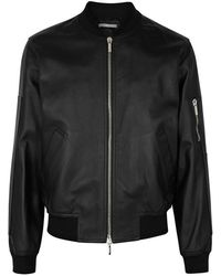 Dior Homme - Black Leather Bomber Jacket - Lyst