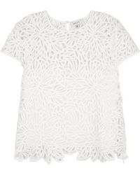 MILLY - Baby White Guipure Lace Top - Lyst