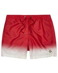 Moncler - Red Dégradé Swim Shorts - Lyst