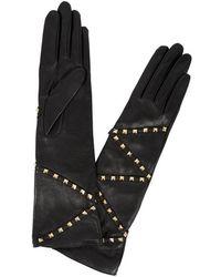 Agnelle - Delphine Stud-embellished Leather Gloves - Lyst