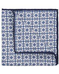 Eton of Sweden - Navy Printed Silk Pocket Square - Lyst