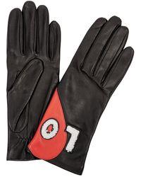 Agnelle - Black Shearling-appliquéd Leather Gloves - Lyst