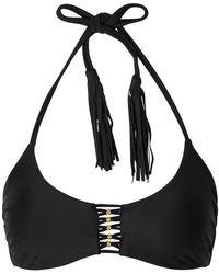 Pilyq - Black Braided Halterneck Bikini Top - Lyst