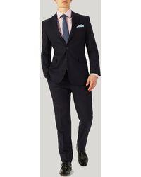 Harvie & Hudson - Navy Herringbone Merino Wool Suit - Lyst