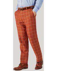 Harvie & Hudson - Burnt Orange Check Linen Trousers - Lyst