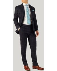 Harvie & Hudson - Navy With Blue Overcheck Suit - Lyst