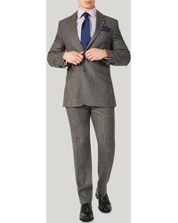 Harvie & Hudson - Brown Prince Of Wales Wool Classic Fit Suit - Lyst