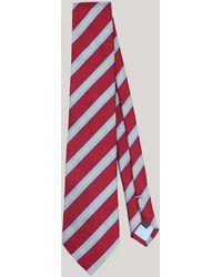 Harvie & Hudson - Burgundy Multi Stripe Woven Silk Tie - Lyst
