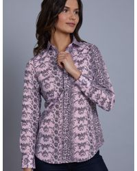 Hawes & Curtis - Pink & Black Snakeskin Print Semi Fitted Shirt - Lyst