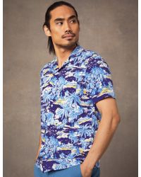 fb5c21643a18 Hawes & Curtis - Navy & Light Blue Palm Tree Print Relaxed Fit Shirt - Lyst