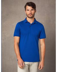 37eccec3f Hawes   Curtis - Dark Blue Mercerised Pique Cotton Polo Shirt With Ribbed  Collar - Lyst