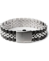 Mister - Chrome/black Mr. Band Bracelet - Lyst